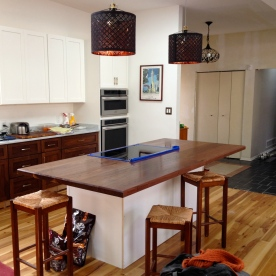 Walnut kitchen island top.